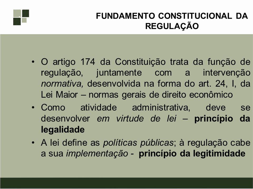 FUNDAMENTO CONSTITUCIONAL DA REGULAÇÃO O artigo 174 da Constituição trata da função de regulação, juntamente com a intervenção normativa, desenvolvida