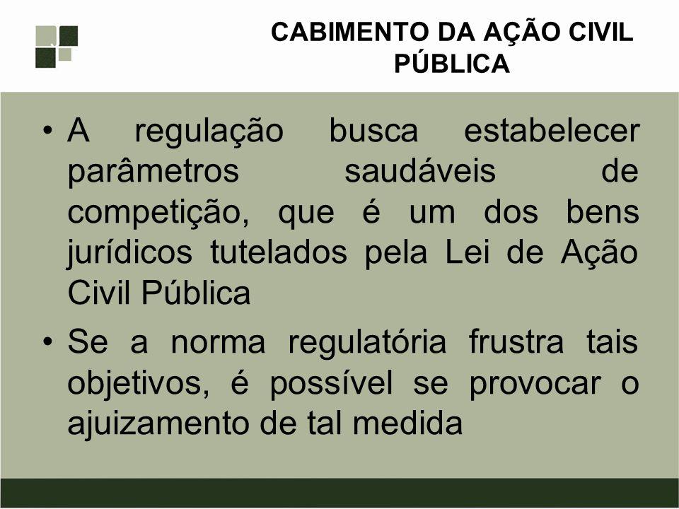 CABIMENTO DA AÇÃO CIVIL PÚBLICA A regulação busca estabelecer parâmetros saudáveis de competição, que é um dos bens jurídicos tutelados pela Lei de Aç