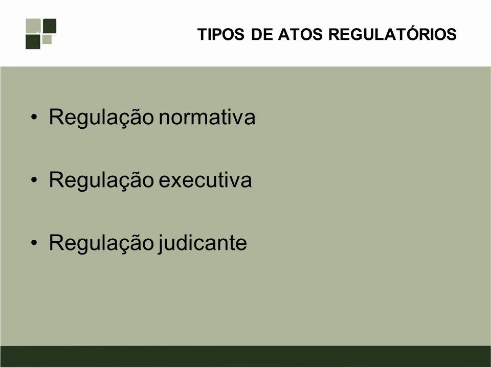 TIPOS DE ATOS REGULATÓRIOS Regulação normativa Regulação executiva Regulação judicante