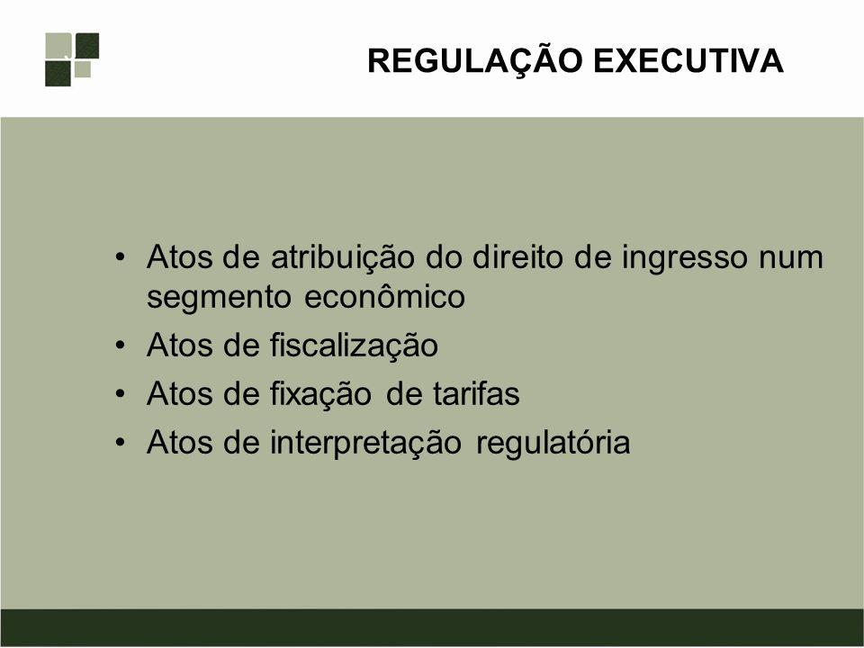 REGULAÇÃO EXECUTIVA Atos de atribuição do direito de ingresso num segmento econômico Atos de fiscalização Atos de fixação de tarifas Atos de interpret