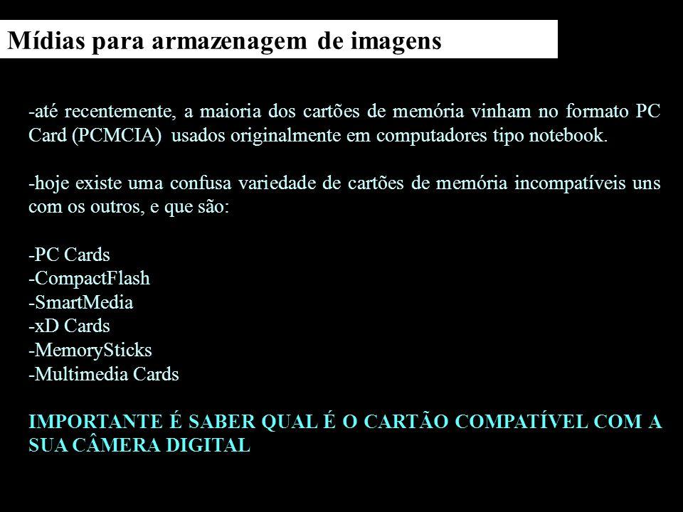 Tipos de mídias para armazenagem de imagens Compact Flash Cartões de Memória Flash