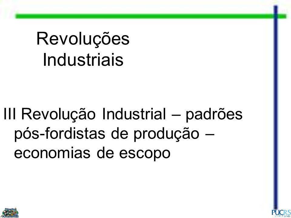 Revoluções Industriais III Revolução Industrial – padrões pós-fordistas de produção – economias de escopo
