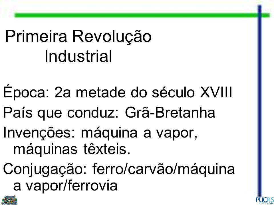 Primeira Revolução Industrial Época: 2a metade do século XVIII País que conduz: Grã-Bretanha Invenções: máquina a vapor, máquinas têxteis. Conjugação: