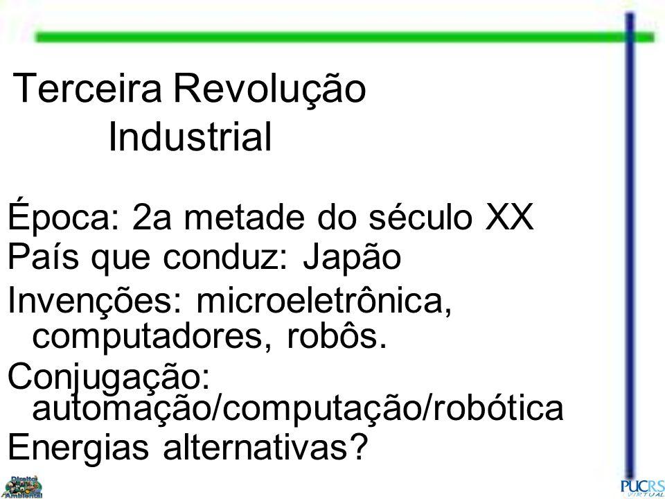 Terceira Revolução Industrial Época: 2a metade do século XX País que conduz: Japão Invenções: microeletrônica, computadores, robôs. Conjugação: automa