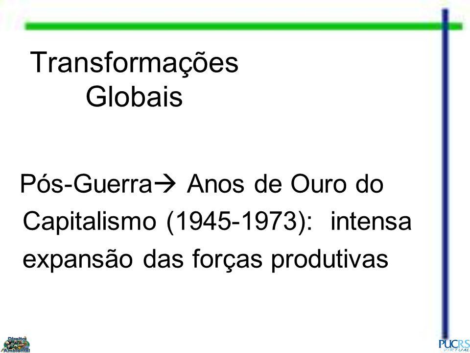 Transformações Globais Pós-Guerra Anos de Ouro do Capitalismo (1945-1973): intensa expansão das forças produtivas