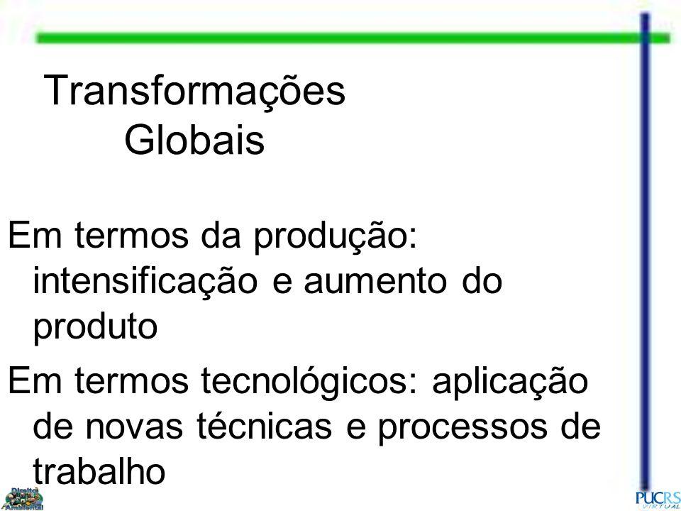 Transformações Globais Em termos da produção: intensificação e aumento do produto Em termos tecnológicos: aplicação de novas técnicas e processos de t