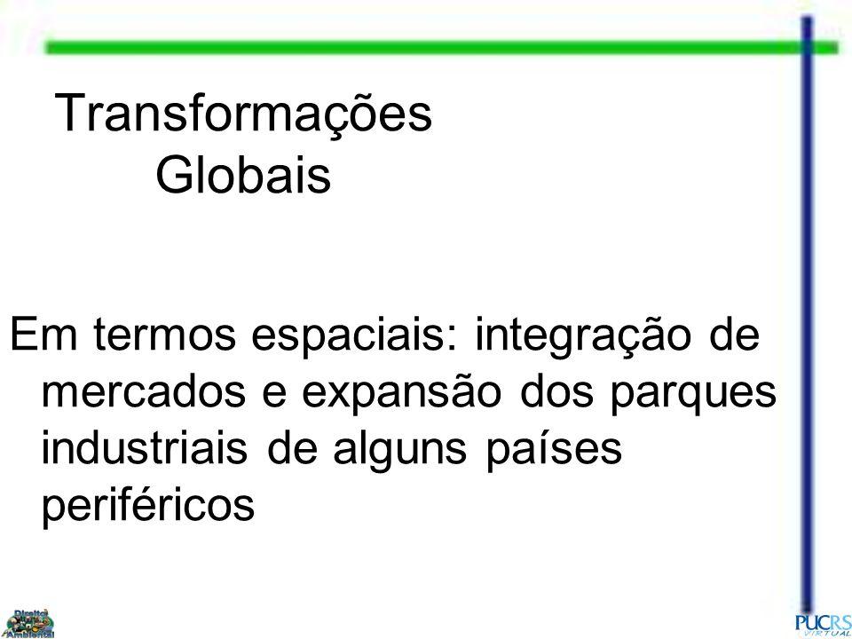 Transformações Globais Em termos espaciais: integração de mercados e expansão dos parques industriais de alguns países periféricos