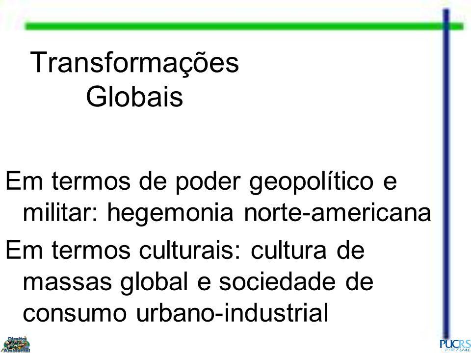 Transformações Globais Em termos de poder geopolítico e militar: hegemonia norte-americana Em termos culturais: cultura de massas global e sociedade d