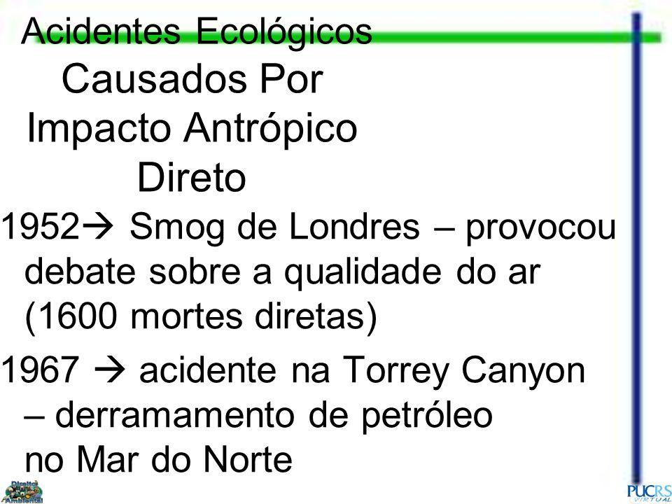 Acidentes Ecológicos Causados Por Impacto Antrópico Direto 1952 Smog de Londres – provocou debate sobre a qualidade do ar (1600 mortes diretas) 1967 a
