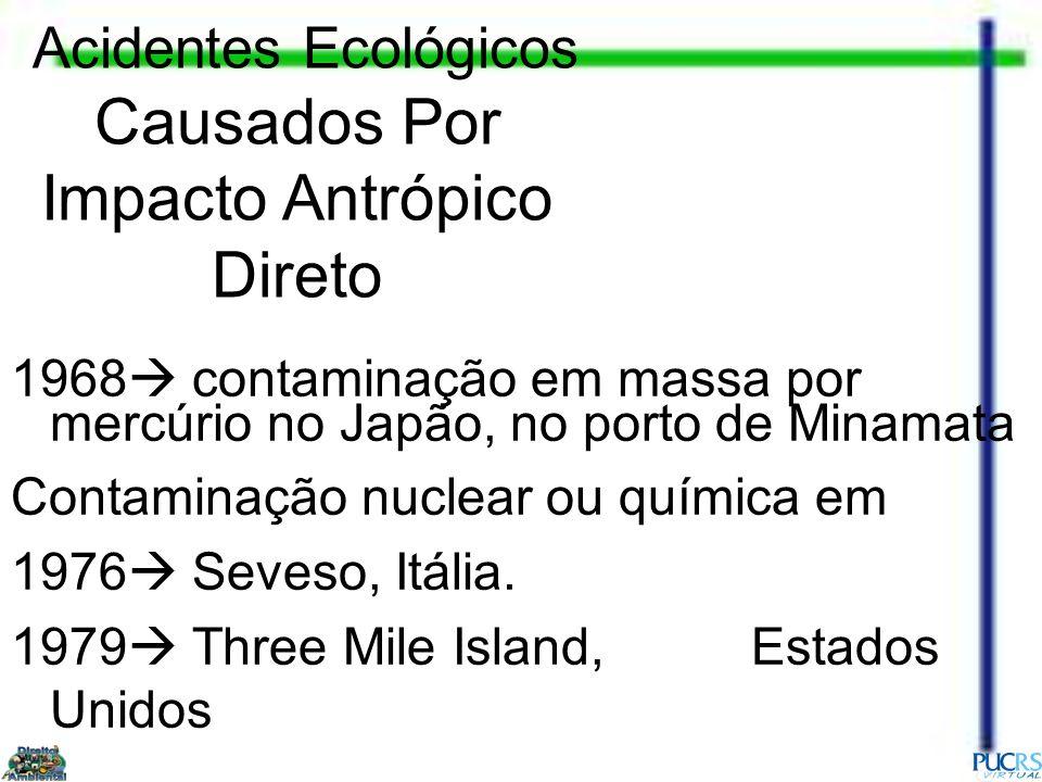 1968 contaminação em massa por mercúrio no Japão, no porto de Minamata Contaminação nuclear ou química em 1976 Seveso, Itália. 1979 Three Mile Island,