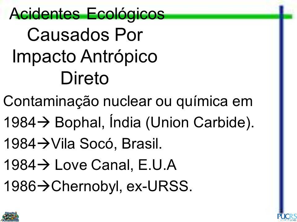 Contaminação nuclear ou química em 1984 Bophal, Índia (Union Carbide). 1984 Vila Socó, Brasil. 1984 Love Canal, E.U.A 1986 Chernobyl, ex-URSS. Acident