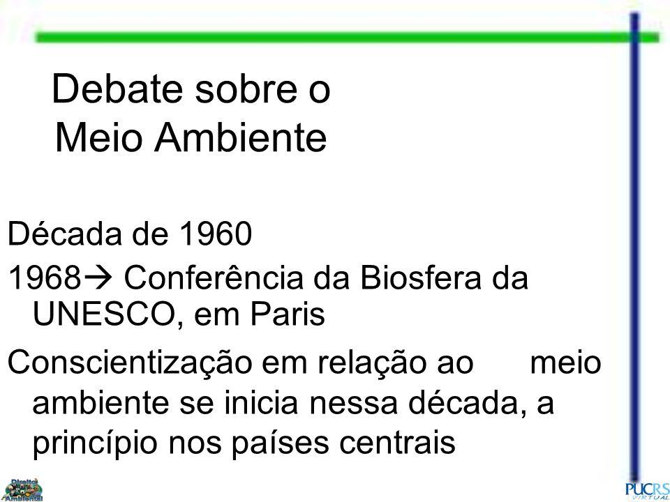 Década de 1960 1968 Conferência da Biosfera da UNESCO, em Paris Conscientização em relação ao meio ambiente se inicia nessa década, a princípio nos pa