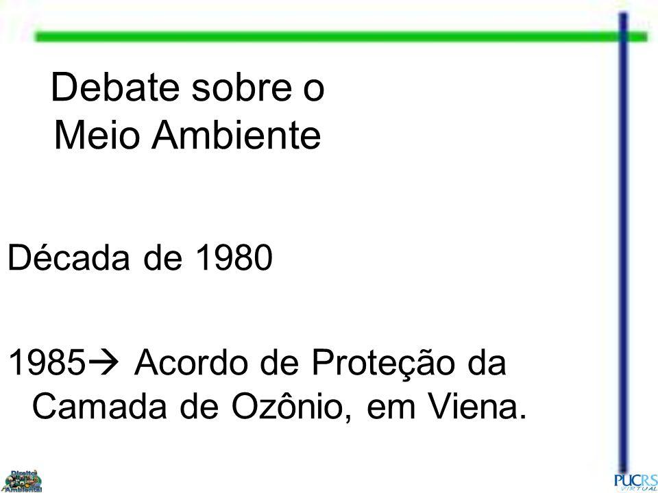 Debate sobre o Meio Ambiente Década de 1980 1985 Acordo de Proteção da Camada de Ozônio, em Viena.