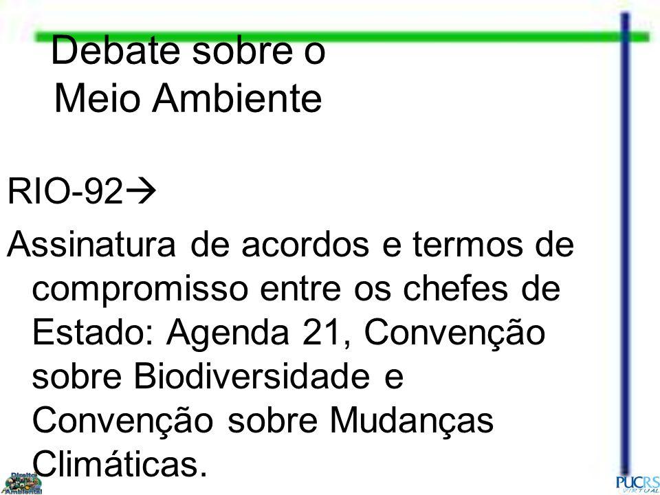Debate sobre o Meio Ambiente RIO-92 Assinatura de acordos e termos de compromisso entre os chefes de Estado: Agenda 21, Convenção sobre Biodiversidade