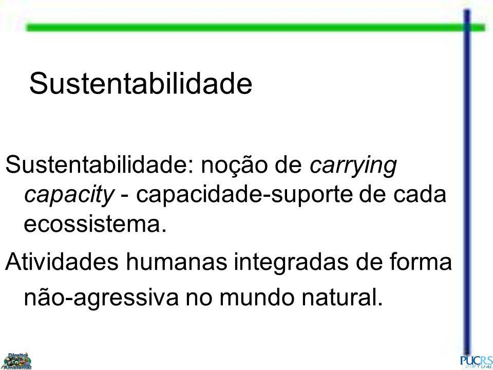 Sustentabilidade Sustentabilidade: noção de carrying capacity - capacidade-suporte de cada ecossistema. Atividades humanas integradas de forma não-agr