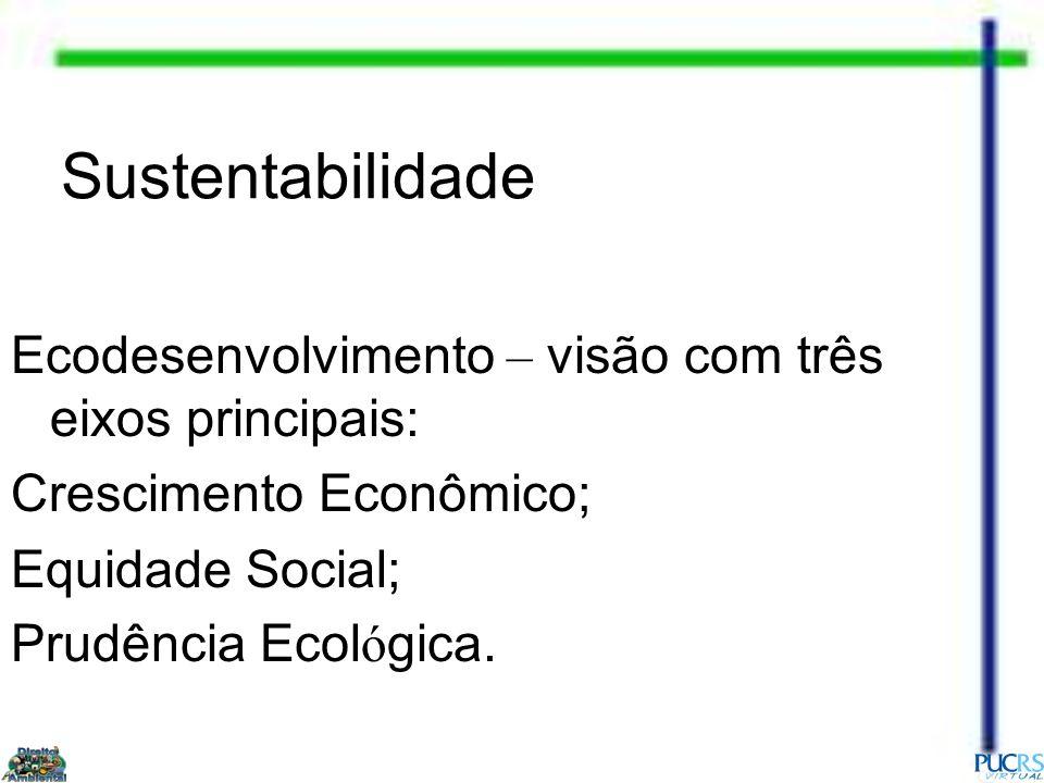 Sustentabilidade Ecodesenvolvimento – visão com três eixos principais: Crescimento Econômico; Equidade Social; Prudência Ecol ó gica.