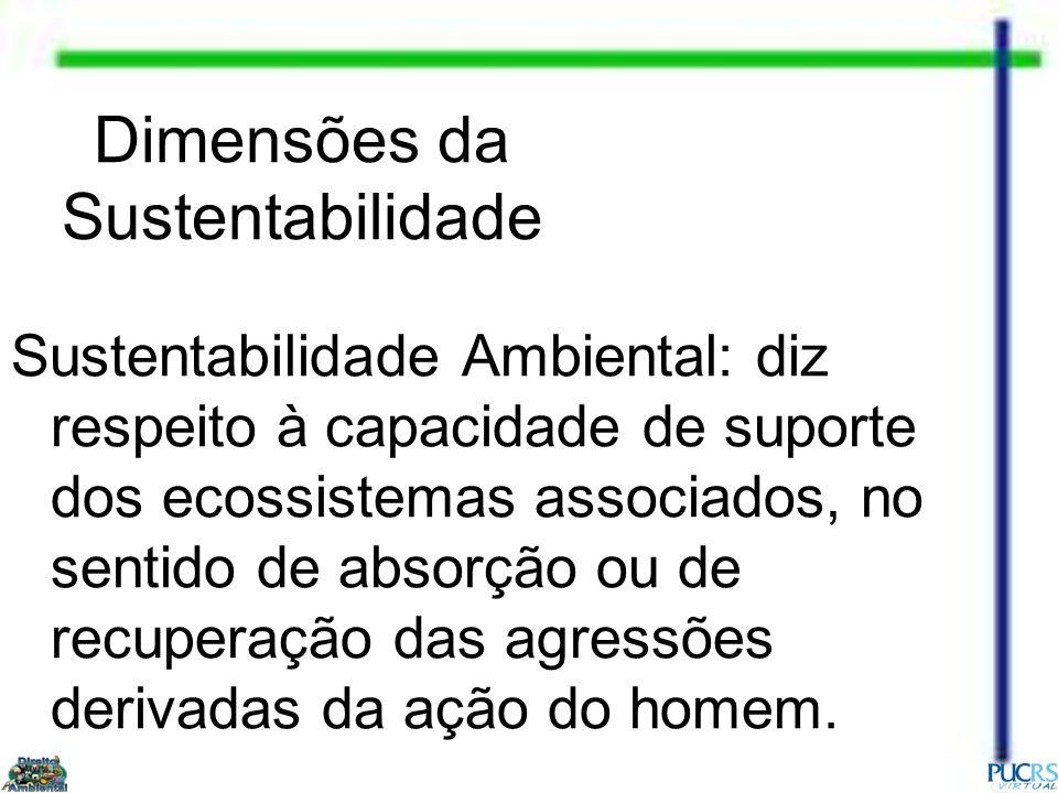 Dimensões da Sustentabilidade Sustentabilidade Ambiental: diz respeito à capacidade de suporte dos ecossistemas associados, no sentido de absorção ou