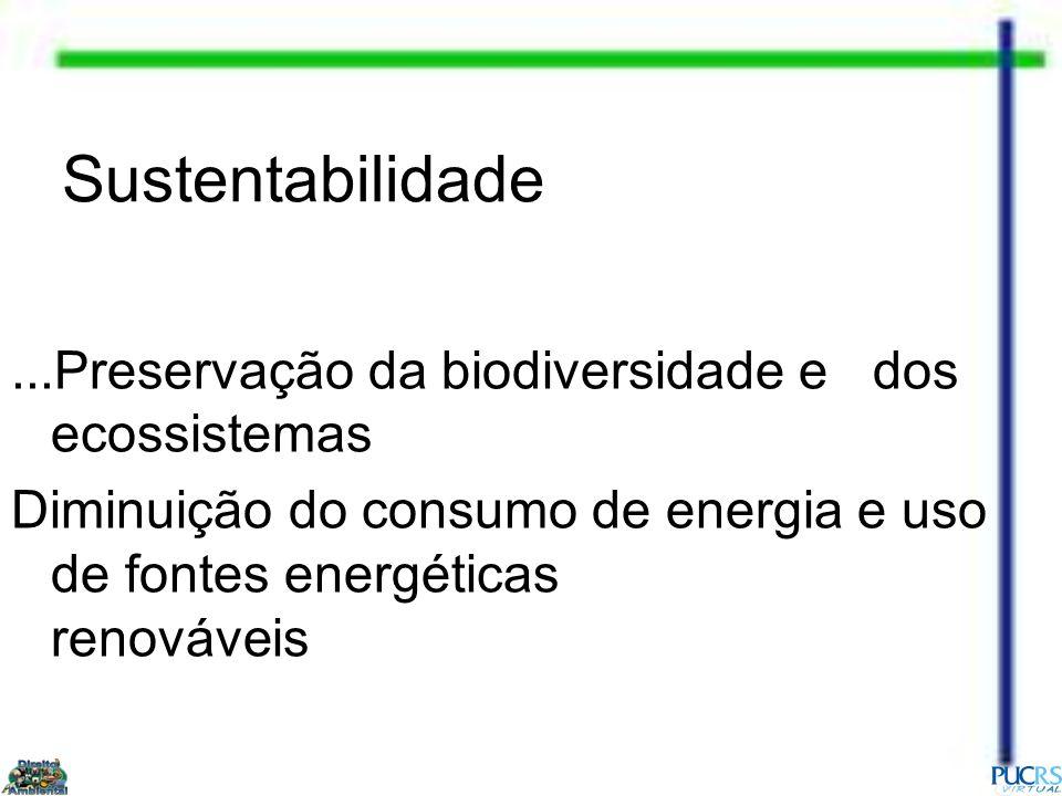 Sustentabilidade...Preservação da biodiversidade e dos ecossistemas Diminuição do consumo de energia e uso de fontes energéticas renováveis