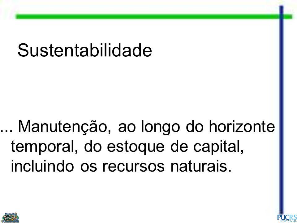 Sustentabilidade... Manutenção, ao longo do horizonte temporal, do estoque de capital, incluindo os recursos naturais.