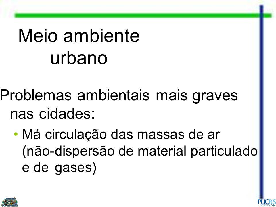 Meio ambiente urbano Problemas ambientais mais graves nas cidades: Má circulação das massas de ar (não-dispersão de material particulado e de gases)
