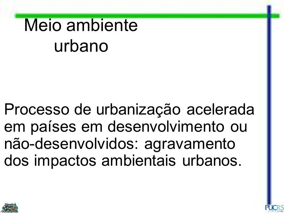 Meio ambiente urbano Processo de urbanização acelerada em países em desenvolvimento ou não-desenvolvidos: agravamento dos impactos ambientais urbanos.