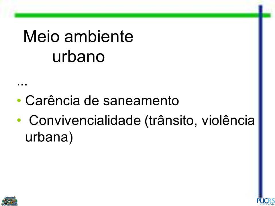 Meio ambiente urbano... Carência de saneamento Convivencialidade (trânsito, violência urbana)