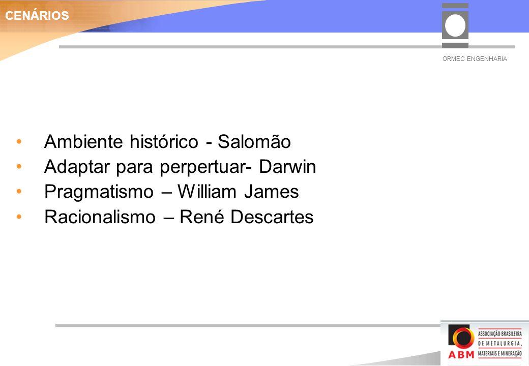 Ambiente histórico - Salomão Adaptar para perpertuar- Darwin Pragmatismo – William James Racionalismo – René Descartes CENÁRIOS ORMEC ENGENHARIA