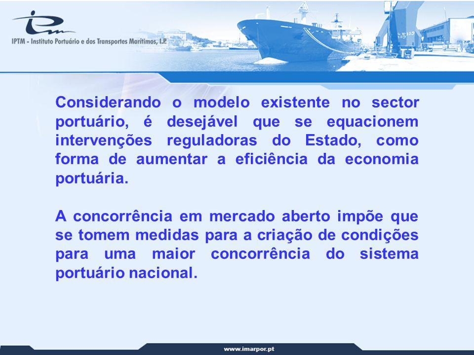 12 Considerando o modelo existente no sector portuário, é desejável que se equacionem intervenções reguladoras do Estado, como forma de aumentar a efi