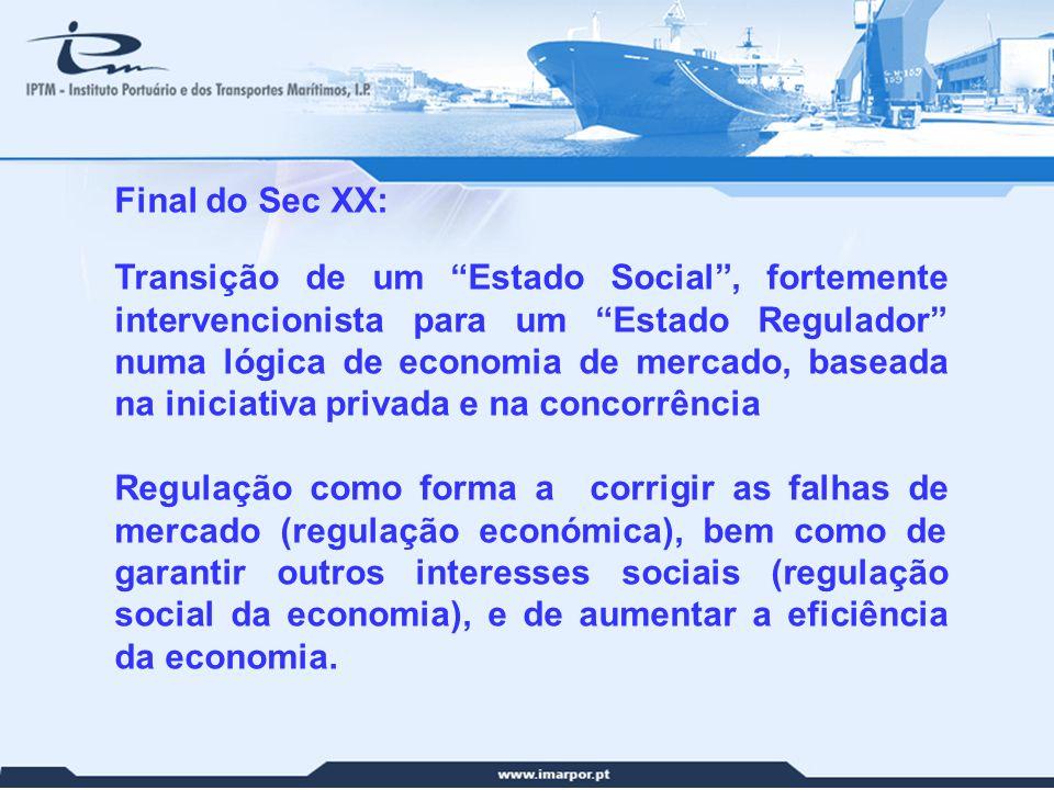 2 Final do Sec XX: Transição de um Estado Social, fortemente intervencionista para um Estado Regulador numa lógica de economia de mercado, baseada na