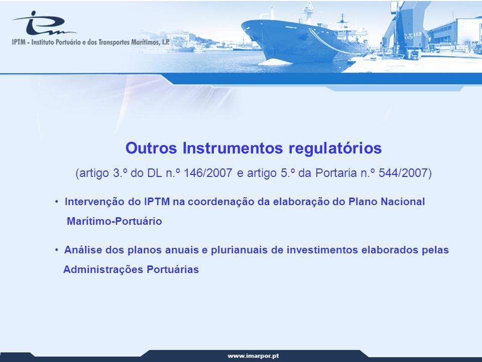 22 Outros Instrumentos regulatórios (artigo 3.º do DL n.º 146/2007 e artigo 5.º da Portaria n.º 544/2007) Intervenção do IPTM na coordenação da elabor