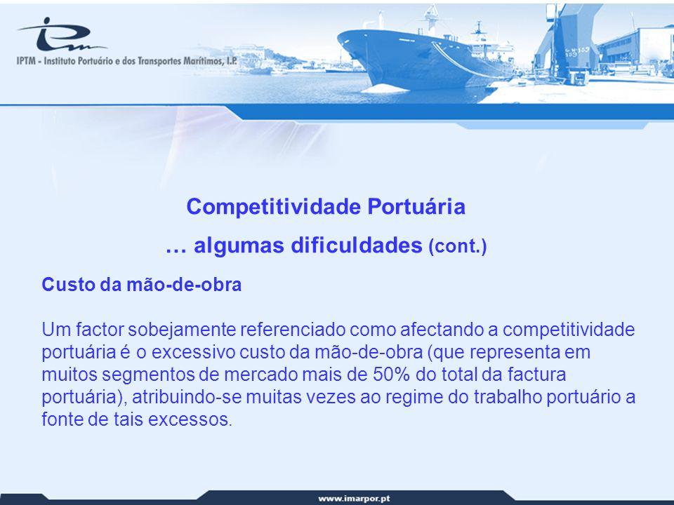 28 Competitividade Portuária … algumas dificuldades (cont.) Custo da mão-de-obra Um factor sobejamente referenciado como afectando a competitividade p