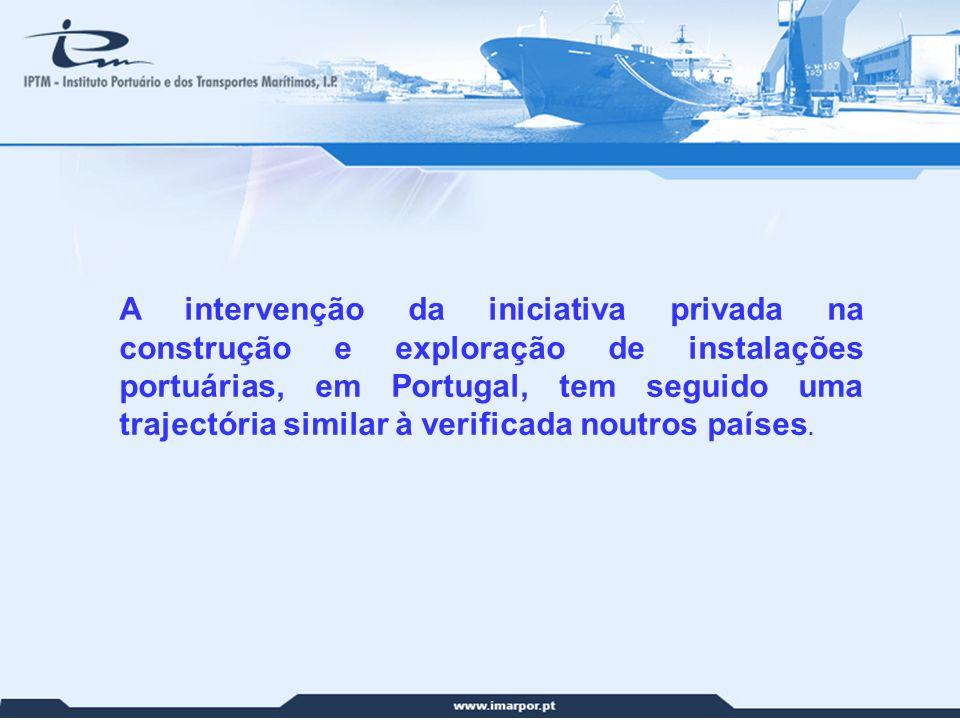 6 A intervenção da iniciativa privada na construção e exploração de instalações portuárias, em Portugal, tem seguido uma trajectória similar à verific
