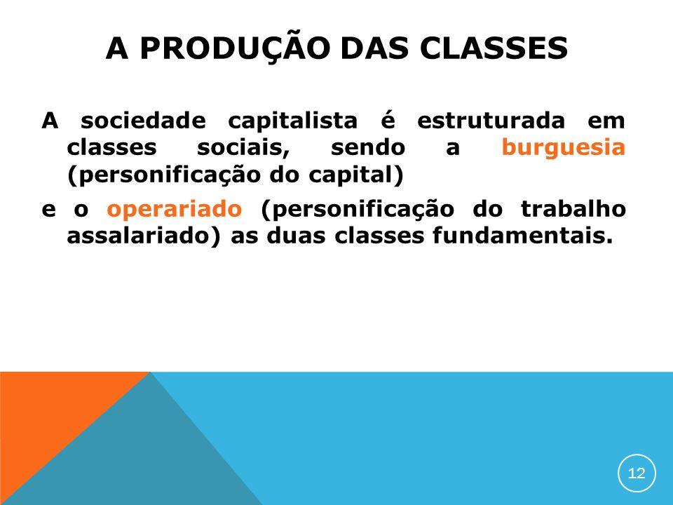A PRODUÇÃO DAS CLASSES A sociedade capitalista é estruturada em classes sociais, sendo a burguesia (personificação do capital) e o operariado (personi