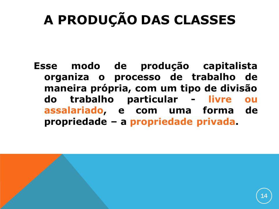 A PRODUÇÃO DAS CLASSES Esse modo de produção capitalista organiza o processo de trabalho de maneira própria, com um tipo de divisão do trabalho partic