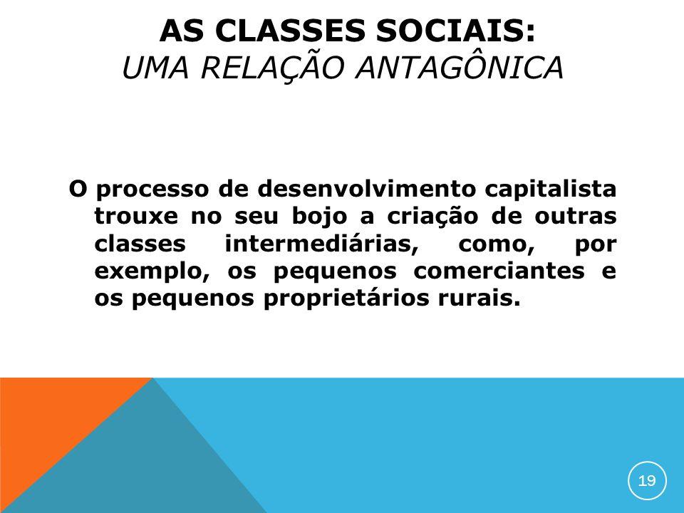 O processo de desenvolvimento capitalista trouxe no seu bojo a criação de outras classes intermediárias, como, por exemplo, os pequenos comerciantes e