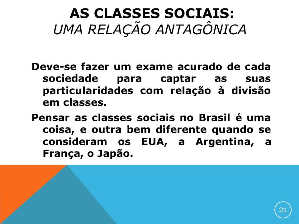Deve-se fazer um exame acurado de cada sociedade para captar as suas particularidades com relação à divisão em classes. Pensar as classes sociais no B