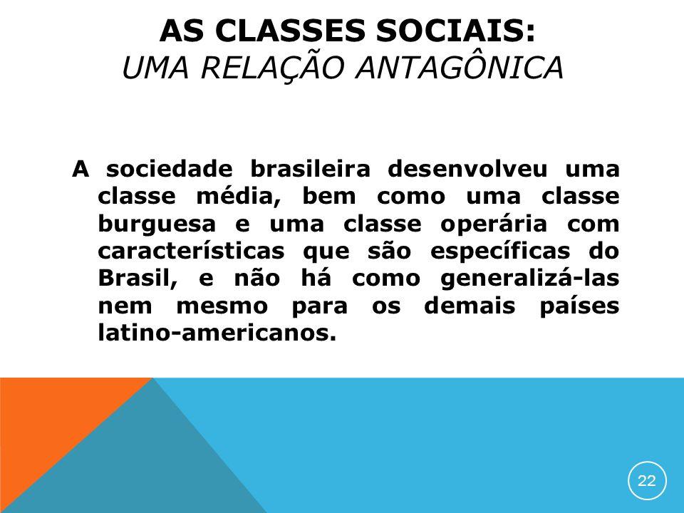 A sociedade brasileira desenvolveu uma classe média, bem como uma classe burguesa e uma classe operária com características que são específicas do Bra