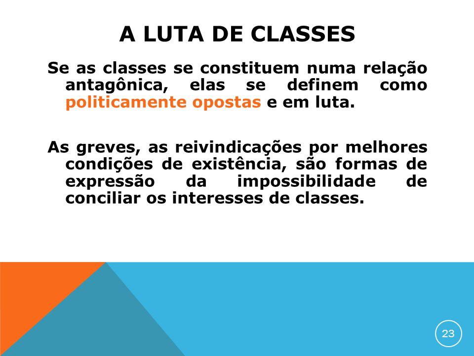 A LUTA DE CLASSES Se as classes se constituem numa relação antagônica, elas se definem como politicamente opostas e em luta. As greves, as reivindicaç