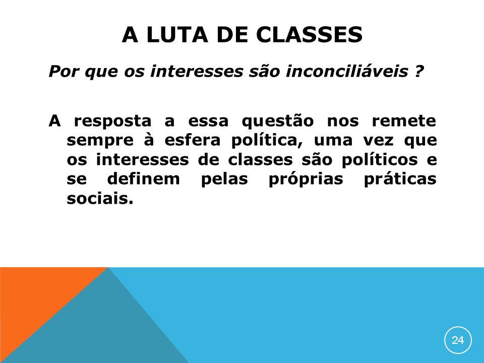 A LUTA DE CLASSES Por que os interesses são inconciliáveis ? A resposta a essa questão nos remete sempre à esfera política, uma vez que os interesses