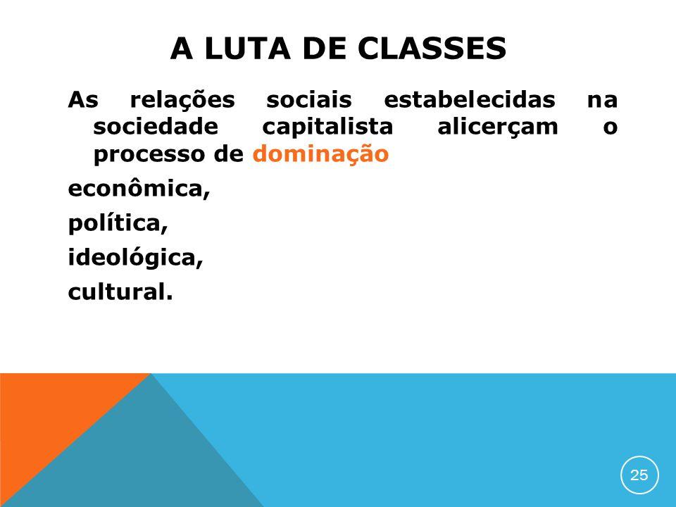 A LUTA DE CLASSES As relações sociais estabelecidas na sociedade capitalista alicerçam o processo de dominação econômica, política, ideológica, cultur