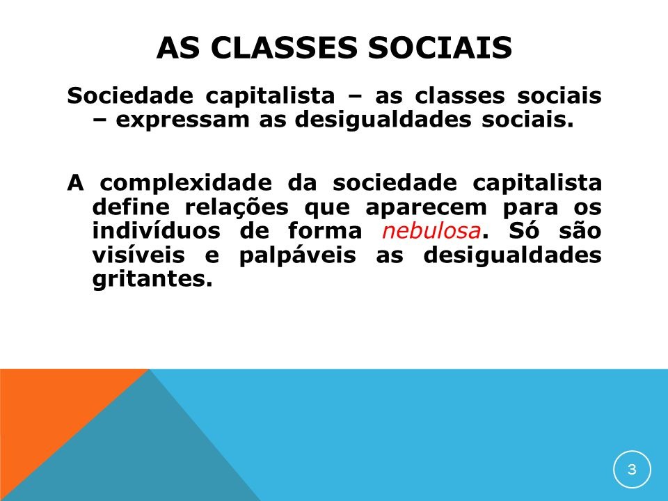 AS CLASSES SOCIAIS Sociedade capitalista – as classes sociais – expressam as desigualdades sociais.