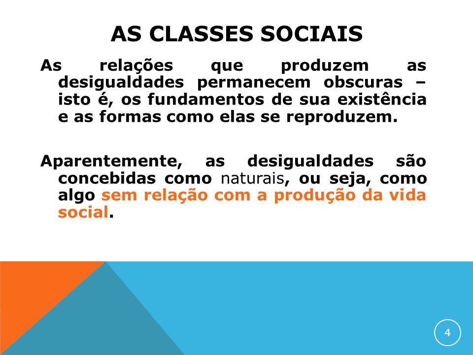 AS CLASSES SOCIAIS As relações que produzem as desigualdades permanecem obscuras – isto é, os fundamentos de sua existência e as formas como elas se r
