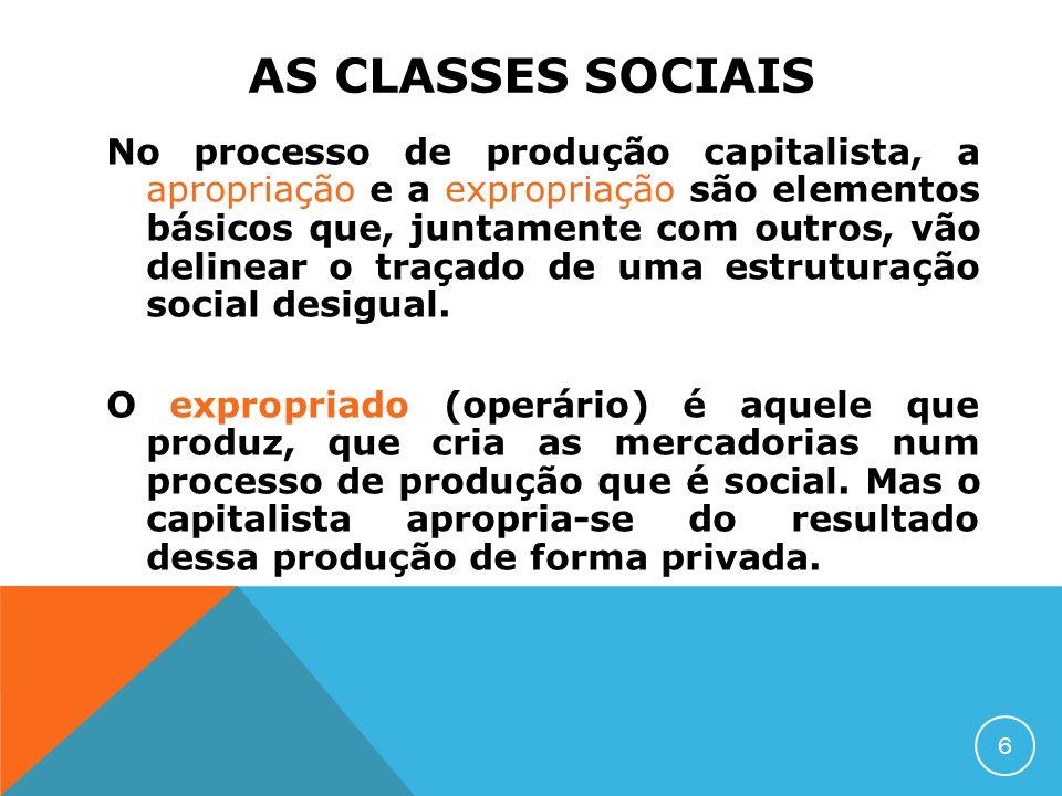 AS CLASSES SOCIAIS No processo de produção capitalista, a apropriação e a expropriação são elementos básicos que, juntamente com outros, vão delinear