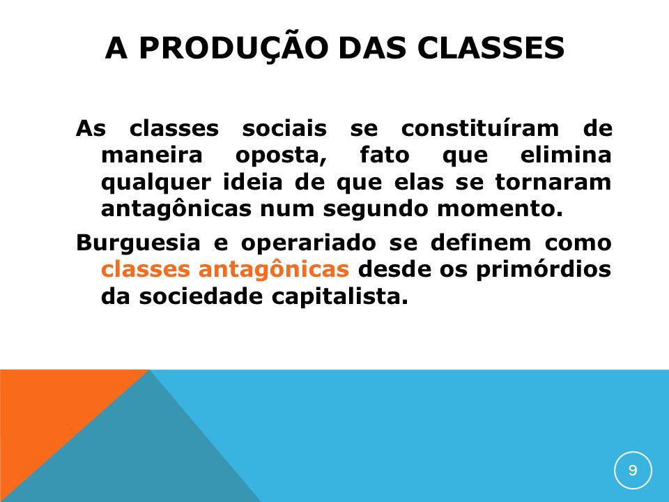 A PRODUÇÃO DAS CLASSES As classes sociais se constituíram de maneira oposta, fato que elimina qualquer ideia de que elas se tornaram antagônicas num s