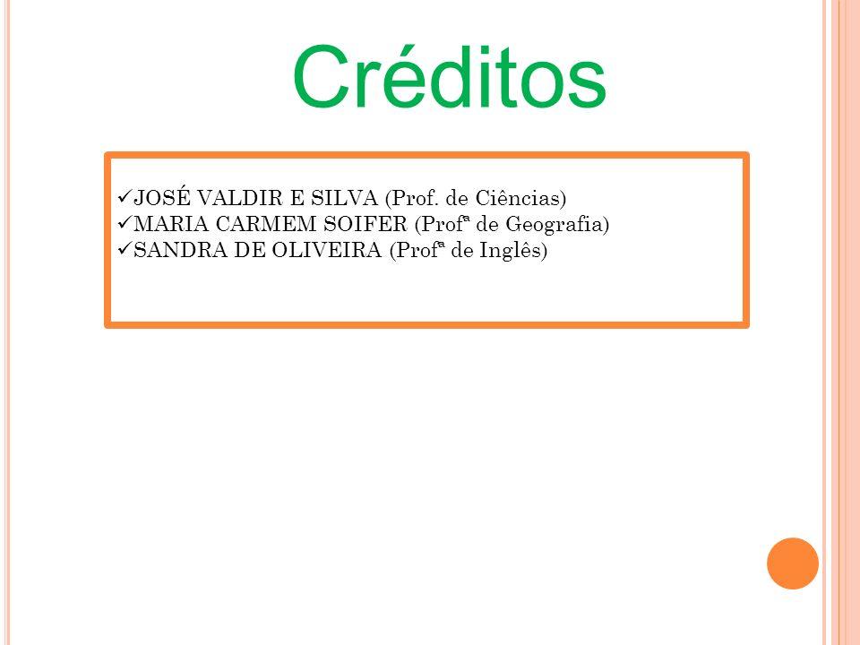 Créditos JOSÉ VALDIR E SILVA (Prof. de Ciências) MARIA CARMEM SOIFER (Profª de Geografia) SANDRA DE OLIVEIRA (Profª de Inglês)