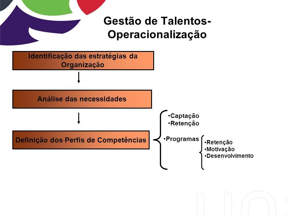 Gestão de Talentos- Operacionalização Identificação das estratégias da Organização Análise das necessidades Definição dos Perfis de Competências Captação Retenção Programas Retenção Motivação Desenvolvimento