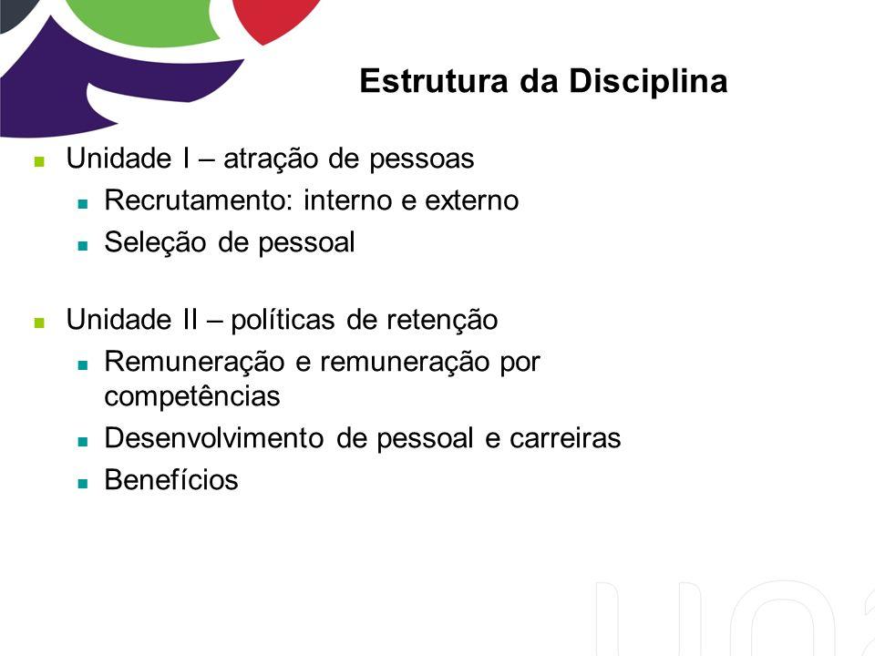 Unidade I – atração de pessoas Recrutamento: interno e externo Seleção de pessoal Unidade II – políticas de retenção Remuneração e remuneração por competências Desenvolvimento de pessoal e carreiras Benefícios Estrutura da Disciplina