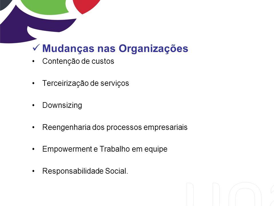 Mudanças nas Organizações Contenção de custos Terceirização de serviços Downsizing Reengenharia dos processos empresariais Empowerment e Trabalho em equipe Responsabilidade Social.