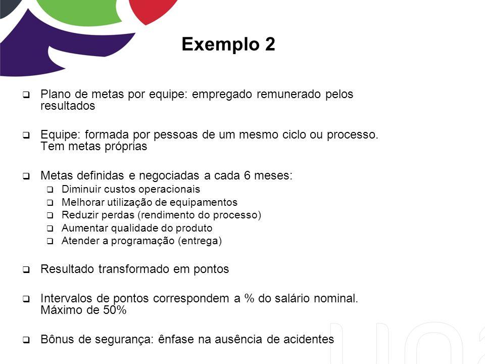 Exemplo 2 Plano de metas por equipe: empregado remunerado pelos resultados Equipe: formada por pessoas de um mesmo ciclo ou processo.