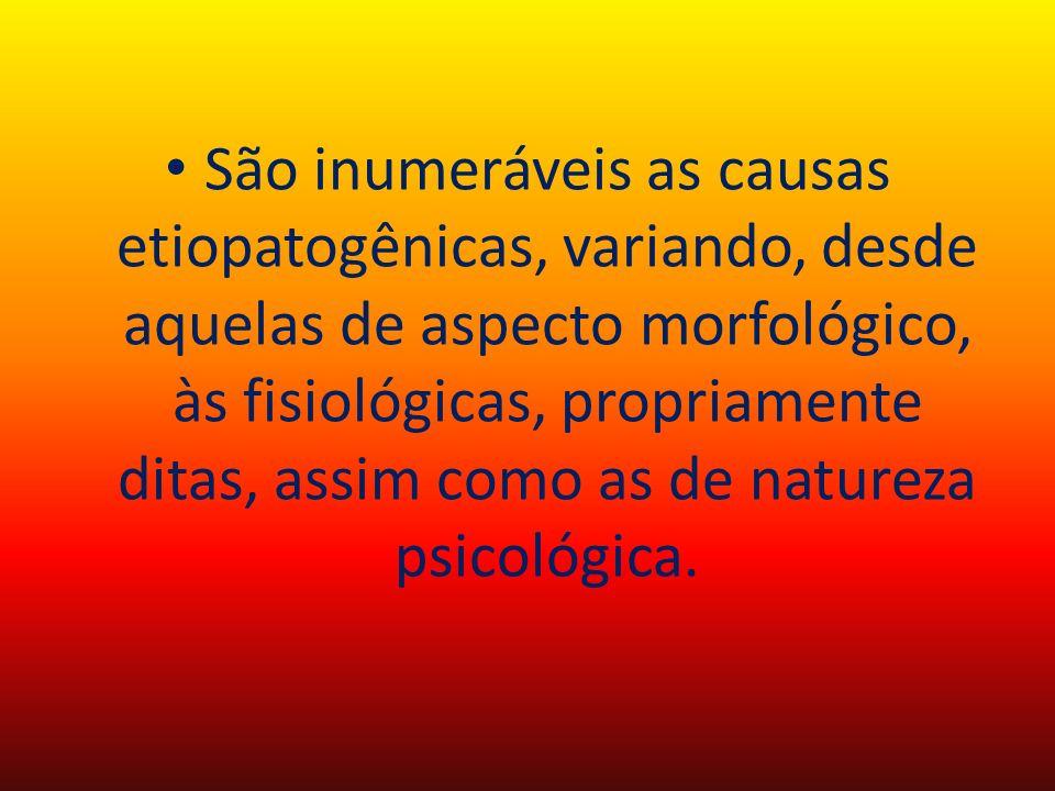 São inumeráveis as causas etiopatogênicas, variando, desde aquelas de aspecto morfológico, às fisiológicas, propriamente ditas, assim como as de natur